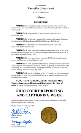2018 Ohio Court Reporting & Captioning Week Resolution