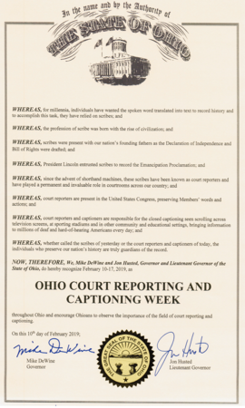 2019 Ohio CR & C Week Recognition